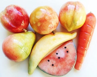 7 Carved Marble Fruit & Carrot, Vintage Stone