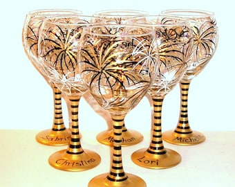 July 4th Bachelorette Party, Bridesmaids Gift, Mother of Bride Hand Painted Wine Glasses 6 - 21 oz Party Gold, Black & Ivory Fireworks