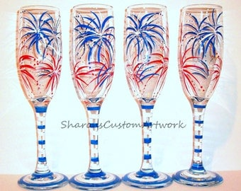 Bridesmaids Gifts Fireworks Red White and Blue Set of 4 - 6 oz. Hand Painted Wedding Champagne Flutes Mother of Bride, Groom Groomsmen Gift