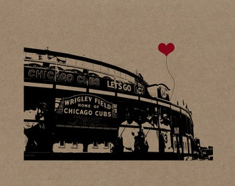 Chicago Cubs Wrigley Field Poster Print on Kraft Chipboard