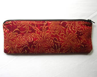 Skinny Red and Gold Zipper Pouch / Pencil Case