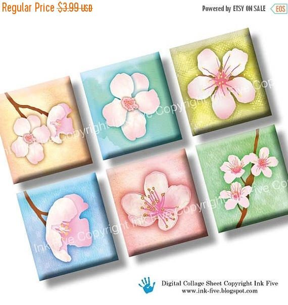 50% OFF SALE Cherry Blossom floral scrabble tile images 0.75x0.83 inch. Two spring 4x6'' Collage Sheets for scrabble pendants. Flowers digit