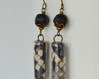 Snakeskin Earrings, Reptile Earrings, Snake Earrings, Black and White Earrings, Art Bead Earrings, OOAK Earrings, Goth Earrings
