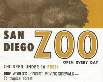 Vintage Mid Century Travel Brochure - San Diego Zoo