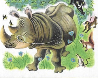 Vintage Original 1940's Tibor Gergely Illustration - A Day In The Jungle - A Little Golden Book