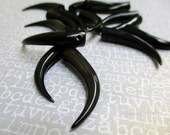 Slender Tusk Bead in Carved Black Horn 33mm Drilled, 1pc