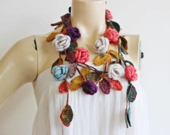 Multicolor Crochet Necklace-Lariat Scarf-Rose Lariat Scarf-Mohair Crochet Scarf with Gold Glitter- Autumn  Scarf-Teal,Mustard,Coral,Purple