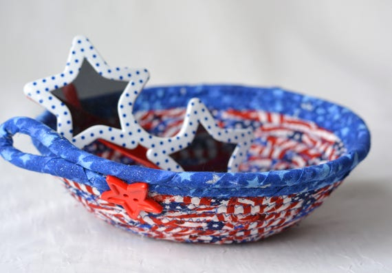 Patriotic Home Decor, Cute Desk Accessory, Handmade Red White and Blue Party Bowl, Toothpick Bowl, Veteran Gift Basket, Gift for Him Dad
