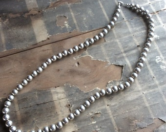 "Silver 28"" Heavy Beaded Vintage Necklace"