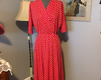 """Red Polka Dot Knit 1950's Style Dress """"I Love Lucy!"""""""