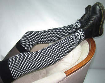 Black White Fair Isle Leg warmers Over the Knee High Boot Socks Women's Knit Tall Sock A1705
