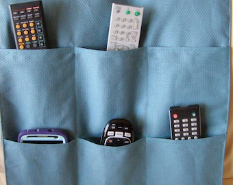 Organizer Caddy for Remote Controls 6 pocket Medium Teal Upholstery