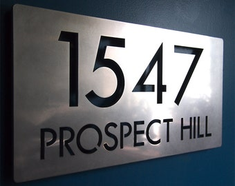 CUSTOM Modern Deluxe Floating Address Sign in Stainless Steel