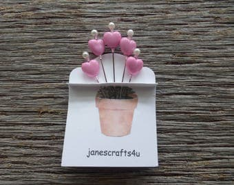 Heart Beads Corsage Pins (5), Straight Pins, Hat Pins