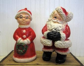 "Vintage 13"" Chalkware Mr. and Mrs. Santa Claus Piggy Bank Statues Christmas"