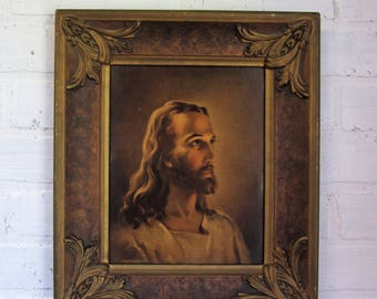 Vintage Wood Gesso Gold Framed Kreibel & Bates Picture of Jesus Religious