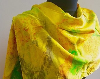 Hand Dyed Long Silk Scarf Green Gold