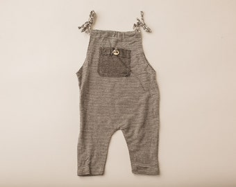 Grey Thin Stripe Jersey Overall- Newborn Photography Overall Set