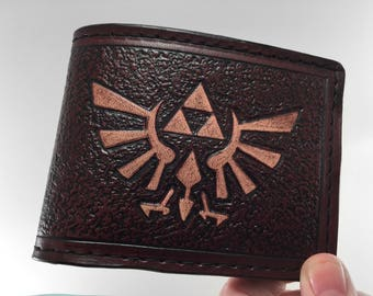 Zelda Inspired Hyrule Crest Wallet in Mahogany