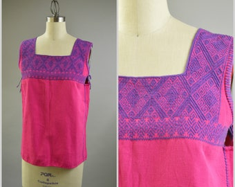 Vintage Summer Top Size Medium Sleeveless Pink and Purple Ethnic Blouse Pink Cotton Purple Geometric Hand Embroidery Guatemalan Clothing