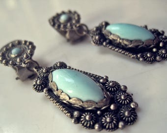 Vintage Turkey Jewelry, Turkish Earrings, Silver and Blue Glass Clip On, Ethnic Adornments