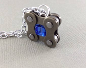 blue bicycle jewelry, bike chain Blue glass pendant, square cycling necklace, bmx jewelry, road cycling necklace, cycling gear