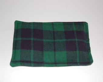 SALE, Rice Heating Pad / Ice Pack, 5 X 8 Green Plaid
