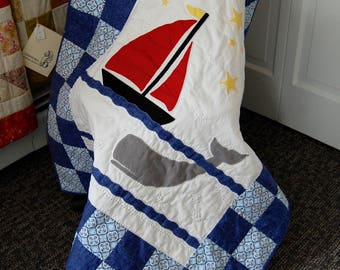 FREE SHIPPING, Sail and a Whale, Baby Quilt, Baby Boy Blanket, Hand Quilted, Machine Appliquéd