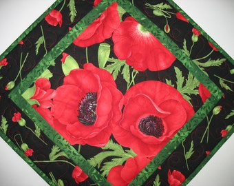 Floral Table Topper, Poppies , or Wall Hanging,