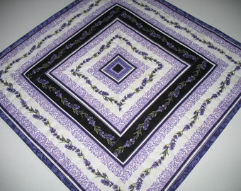 Lavender Table Topper, violet tones. quilted, handmade, fabric from Northcott