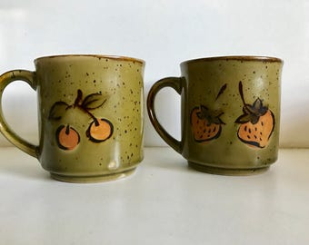 Vintage Fruit Ceramic Stoneware Mugs