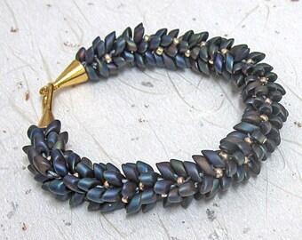 Kumihimo bracelet purple and gold bracelet