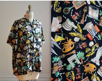15% OFF SALE 90s Vintage Nicole Miller Silk Shirt NYC New York City Print Size Medium Large