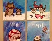 Set of four small original paintings woodland calendar art cute whimsical nursery decor