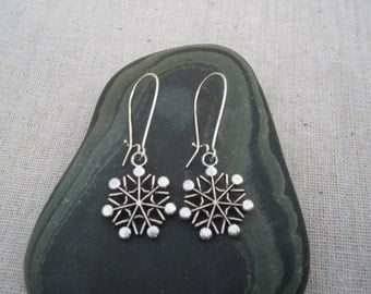 Silver Snowflake Earrings - Silver Snowflake Jewelry - Winter Holiday Jewelry - Festive Earrings