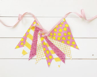 Lemonade Pennant Fabric Banner, Bunting, Garland - with Pink Sequin - READY TO SHIP!!