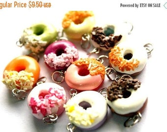 Miniature Donuts Polymer Clay Foods Supplies for Beaded Jewelry Charm 10 pcs