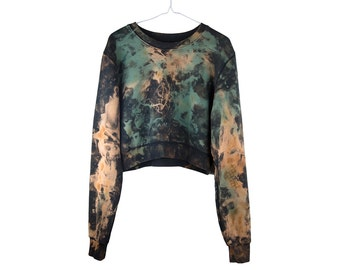 COTTON Hand dyed CROPPED Sweatshirt,  Made in Uk. Unique, Unusual, Tie Dye, Dip Dye, Acid wash. ECO fabric. Fair Trade. Sweat, jumper.