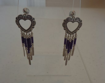 Circa late 1980s Sterling Silver Southwestern Stamped Heart and Purple Stone Heishi Dangle Pierced Post Earrings