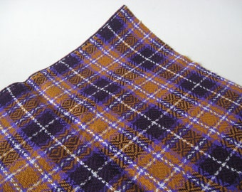 Gorgeous vintage upholstery mustard gold purple dark brown with white woven plaid 60s 70s fabric