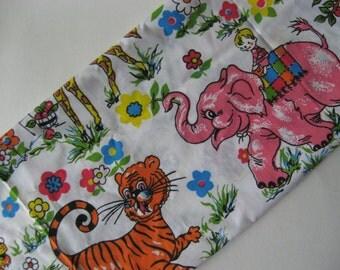 Odd mod vintage bright  cotton fabric material children's room giraffe elephant lion tiger