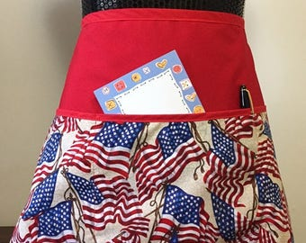 Patriotic Fabric theme, 3 Pocket Waist Apron,  Great for Teachers,Crafters, Vendors
