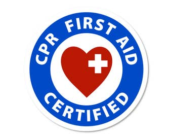 """CPR First Aid Certified Fire and Rescue Heroes - 2""""  Round Window or Bumper Stickers (Choose Pack Size)"""