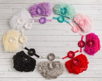 Baby Bloomer SET, Bloomer and  baby headband set,  Photo Prop Set, Newborn Bloomer, Ruffle Diaper Cover, Baby Headband and Bloomers,