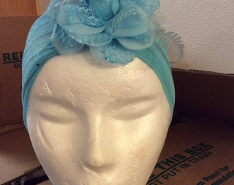 Chiffon sequin hat sheer floral feather top elegant osfa