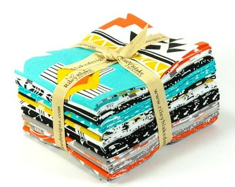 Fat Quarter Bundle - Four Corners Triangle Teal C4874 - By Simple Simon and Company - Riley Blake Fabric - 15 FQs