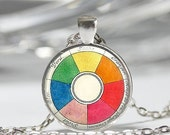 ON SALE Vintage Color Wheel Necklace Artists Jewelry Teachers Students Art Pendant in Bronze or Silver with Link Chain Included