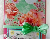 You make me smile, Friendship card, Shabby pink, Mums, Carnations, Best Friends card, handmade spring time greeting, Pretty flowers