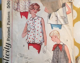 1950's Simplicity Sewing Pattern 2562 Misses Maternity Full Top, Blouson Top Size 14 cut- 1950's  maternity pattern, maternity top pattern