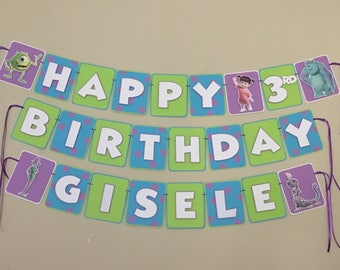 MONSTERS INC. Happy Birthday Party Name Banner